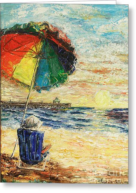 Bible Paintings Greeting Cards - Umbrella Sunrise Greeting Card by Janis Lee Colon