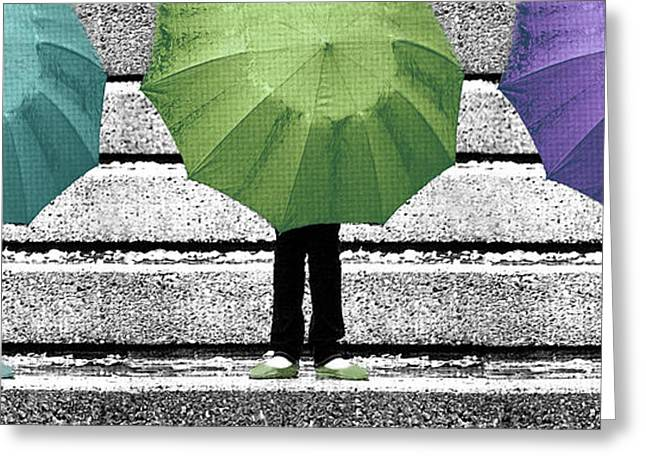 Selective Colouring Greeting Cards - Umbrella Trio Greeting Card by Lisa Knechtel
