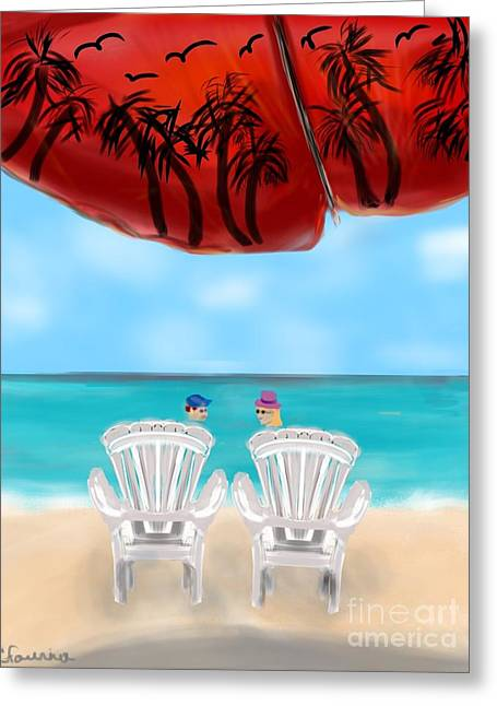 Umbrella View Greeting Card by Christine Fournier
