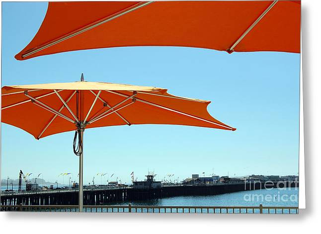 Santa Cruz Wharf Greeting Cards - Umbrellas And Wharf 2 Greeting Card by Debra Thompson