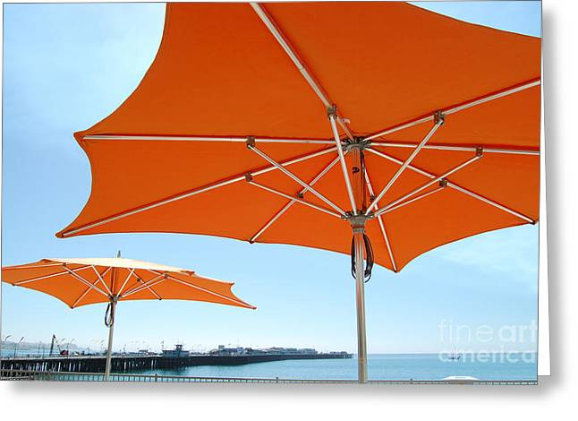 Santa Cruz Wharf Greeting Cards - Umbrellas And Wharf Greeting Card by Debra Thompson