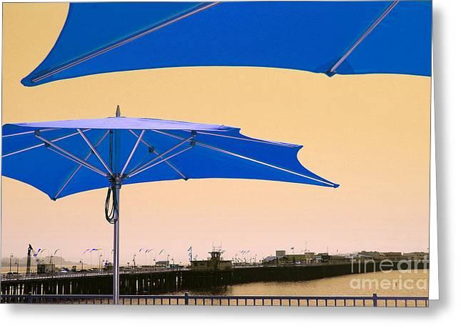 Best Sellers -  - Santa Cruz Wharf Greeting Cards - Umbrellas And Wharf Variation 2 Greeting Card by Debra Thompson