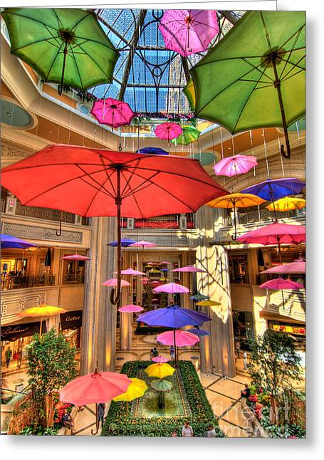 Many Greeting Cards - Umbrellas at Palazzo Shops Greeting Card by Amy Cicconi