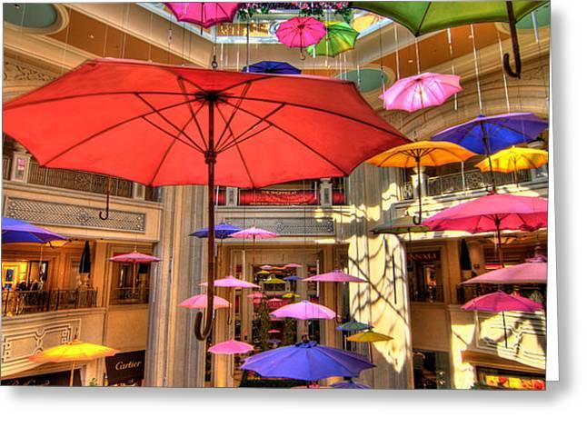 Umbrellas at Palazzo Shops Greeting Card by Amy Cicconi