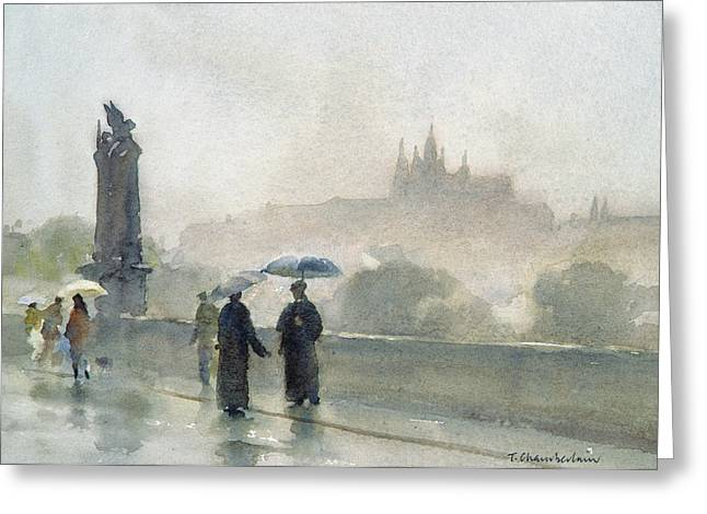 Raining Greeting Cards - Umbrellas, Charles Bridge, Prague Wc On Paper Greeting Card by Trevor Chamberlain