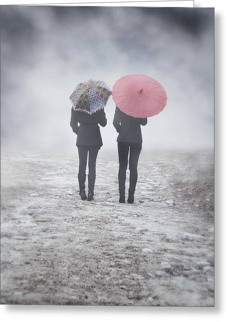 Friends Greeting Cards - Umbrellas In The Mist Greeting Card by Joana Kruse