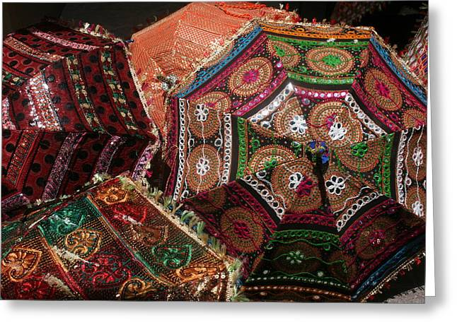 Kpl Greeting Cards - Umbrellas In The Textile Souk  Greeting Card by Kathy Peltomaa Lewis