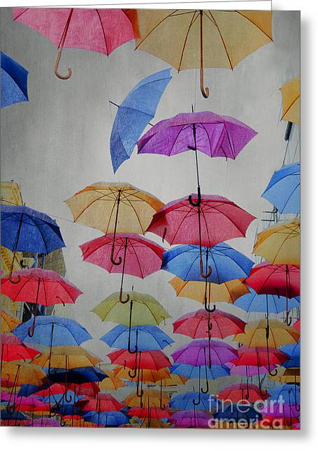 Skies Pyrography Greeting Cards - Umbrellas Greeting Card by Jelena Jovanovic