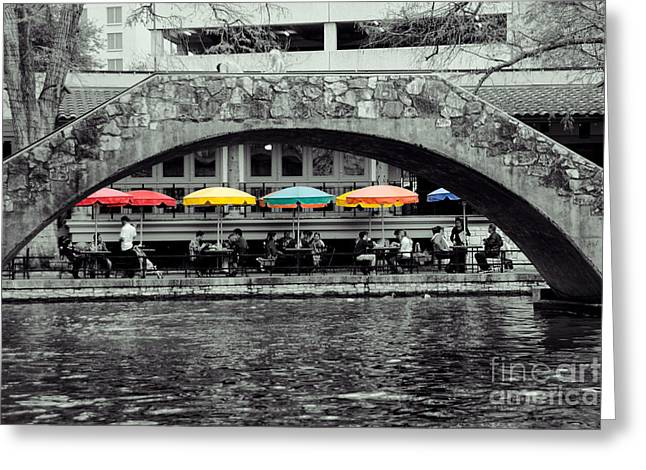 Riverwalk Greeting Cards - Umbrellas of Many Colors Greeting Card by John Kain