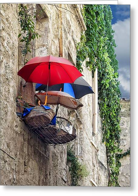 Languedoc Greeting Cards - Umbrellas on the Balcony Greeting Card by Nikolyn McDonald