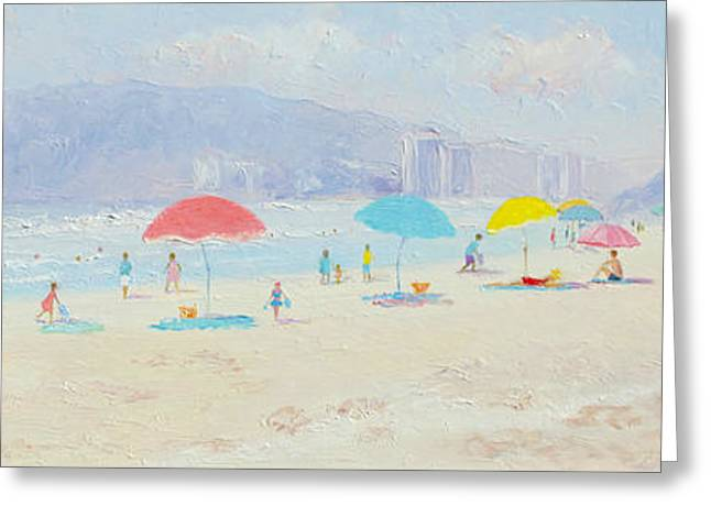 Print On Canvas Greeting Cards - Umbrellas on the Beach Greeting Card by Jan Matson