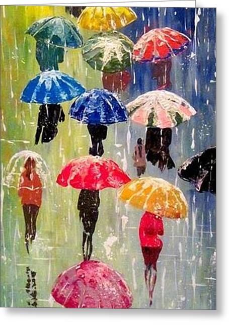 Abstract Rain Greeting Cards - Umbrellas Greeting Card by Svilen And Lisa
