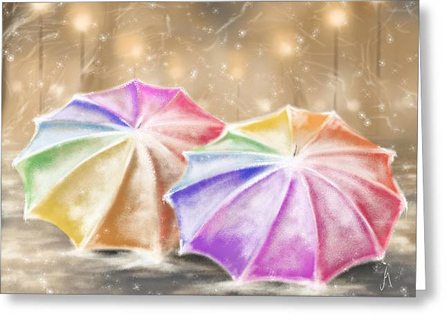 Winter Landscape Digital Greeting Cards - Umbrellas Greeting Card by Veronica Minozzi