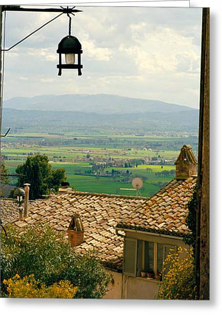 Umbria Greeting Cards - Umbrian Countryside Viewed Through An Greeting Card by Panoramic Images