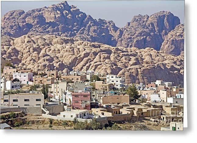 Petra Greeting Cards - Umm Sayhoun Bedouin Village Greeting Card by Adam Sylvester
