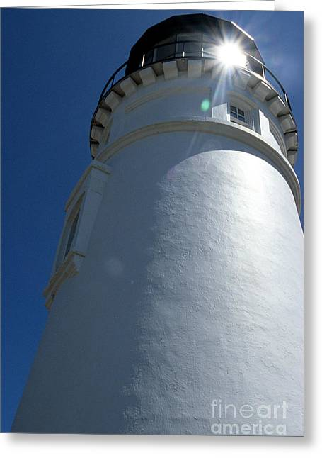 Pacific Ocean Prints Greeting Cards - Umpqua River Light Greeting Card by Sharon Elliott