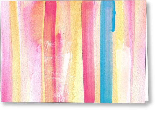 Blue And Orange Greeting Cards - Umrbrella Stripe- contemporary abstract painting Greeting Card by Linda Woods