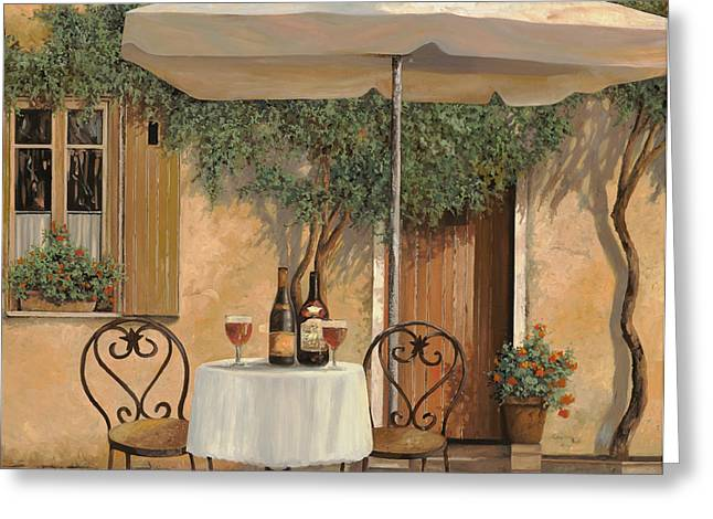 Umbrella Greeting Cards - Un Altro Bicchiere Prima Di Pranzo Greeting Card by Guido Borelli
