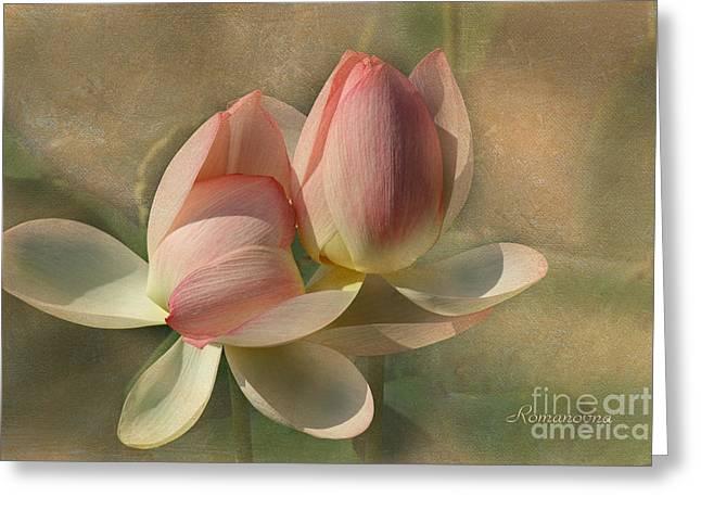 Salmon Mixed Media Greeting Cards - Un Baiser Greeting Card by Georgiana Romanovna
