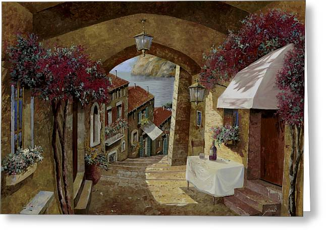 Streetscape Paintings Greeting Cards - Un Bicchiere Sotto Il Lampione Greeting Card by Guido Borelli
