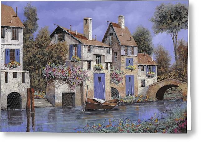 Stone Bridge Greeting Cards - Un Borgo Tutto Blu Greeting Card by Guido Borelli