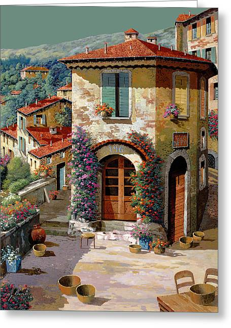 Light Greeting Cards - Un Cielo Verdolino Greeting Card by Guido Borelli