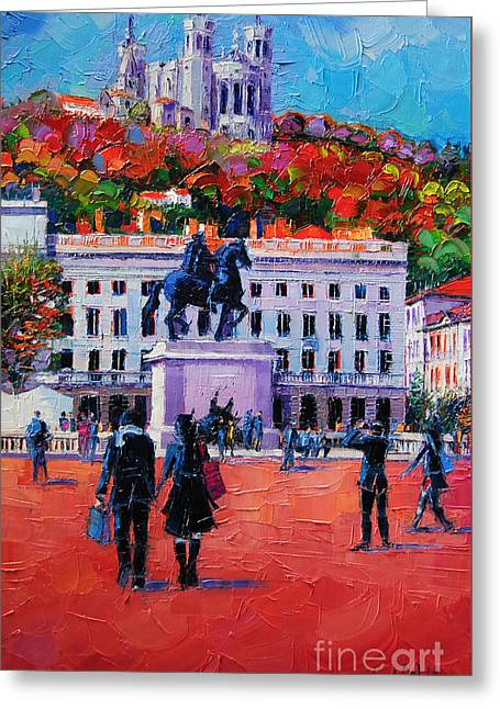 Expressionist Horse Greeting Cards - Un Dimanche A Bellecour Greeting Card by Mona Edulesco