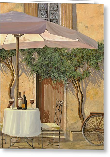 Table Wine Greeting Cards - Un Ombra In Cortile Greeting Card by Guido Borelli