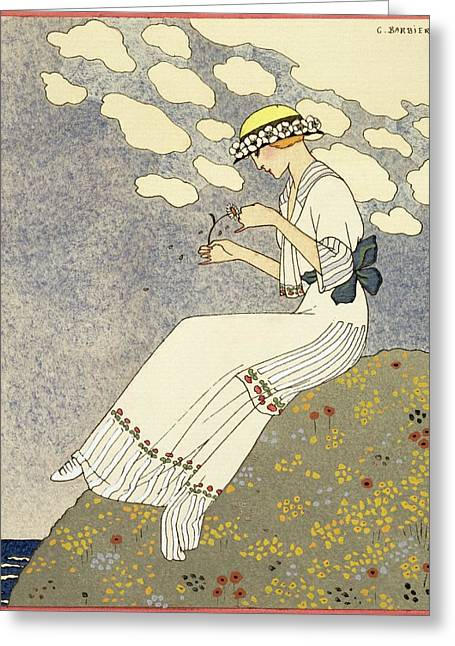 Dressy Greeting Cards - Un Peu... Greeting Card by Georges Barbier
