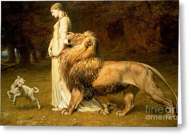 Lion And Lamb Greeting Cards - Una and Lion from Spensers Faerie Queene Greeting Card by Briton Riviere