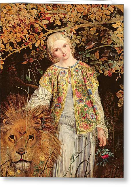 Pre-raphaelites Photographs Greeting Cards - Una And The Lion, Exh. 1860 Greeting Card by William Bell Scott