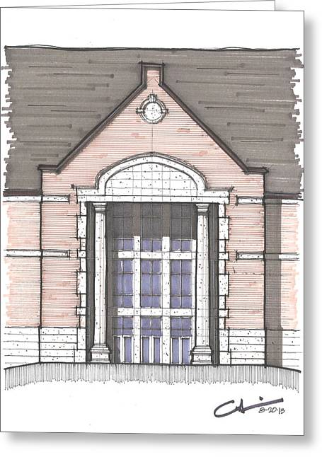 Alabama University Buildings Drawings Greeting Cards - UNA Entry Study Greeting Card by Calvin Durham