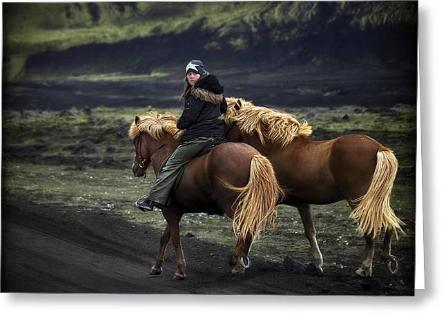 Horseback Photographs Greeting Cards - Unable To Stay. Unwilling To Leave. Greeting Card by Evelina Kremsdorf