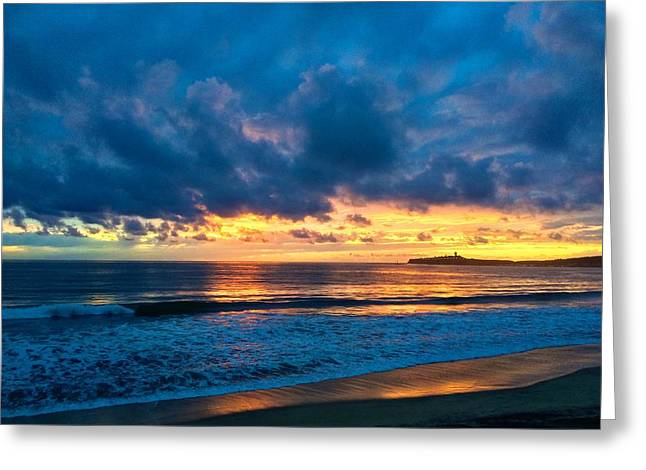 Half Moon Bay Greeting Cards - Unaltered-Sunset Over Pillar Point Greeting Card by Janet Rae-Dupree