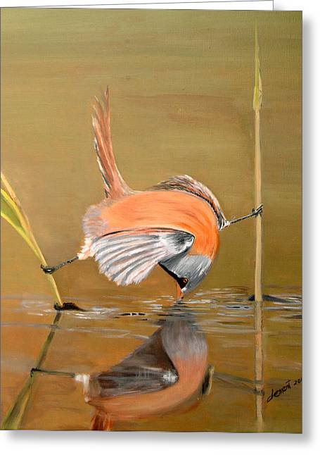 Clever Paintings Greeting Cards - Unbelievable- A Clever Bird Greeting Card by Clement Tsang