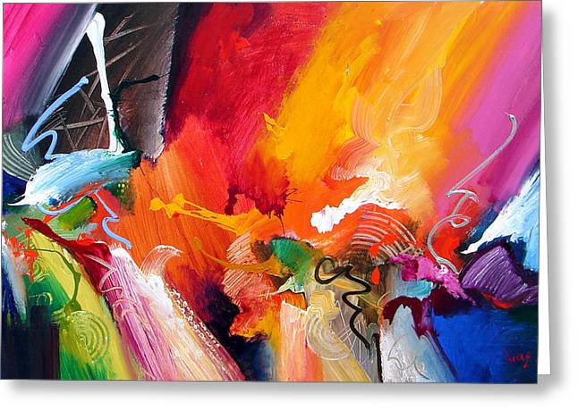 Best Sellers -  - Abstract Expressionist Greeting Cards - Unbounded Ecstasy Greeting Card by Jonas Gerard