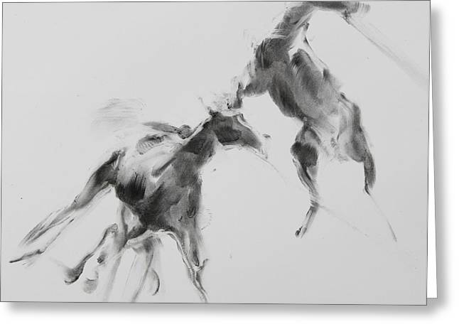 Gray Horse Greeting Cards - Unbroken Horses Greeting Card by Janet Goddard