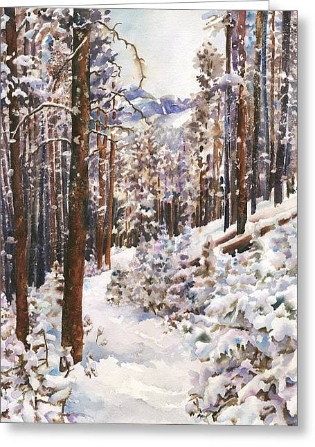 Snowscape Paintings Greeting Cards - Unbroken Snow Greeting Card by Anne Gifford