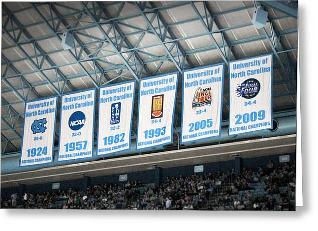 Hoops Photographs Greeting Cards - UNC-CH Championship Banners Greeting Card by Orange Cat Art