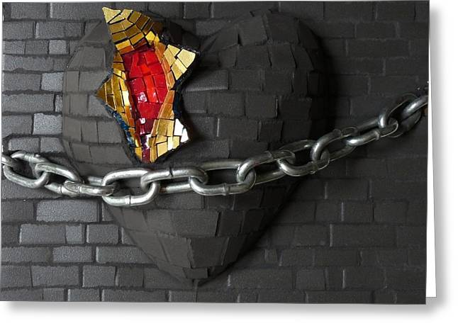 Rays Glass Greeting Cards - Unchain My Heart Greeting Card by Julie Mazzoni