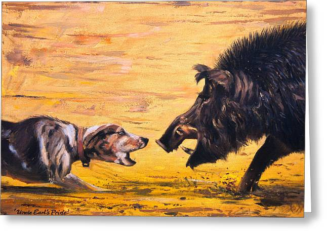 Wild Boar Greeting Cards - Uncle Earls Pride Greeting Card by Mike Roberts