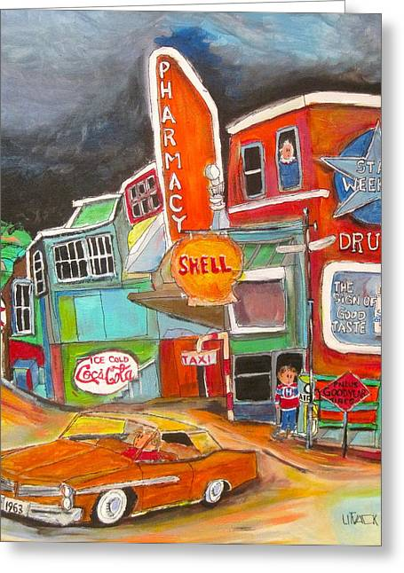 Shell Sign Paintings Greeting Cards - Uncle Nuttys St. Agathe 1960s Greeting Card by Michael Litvack
