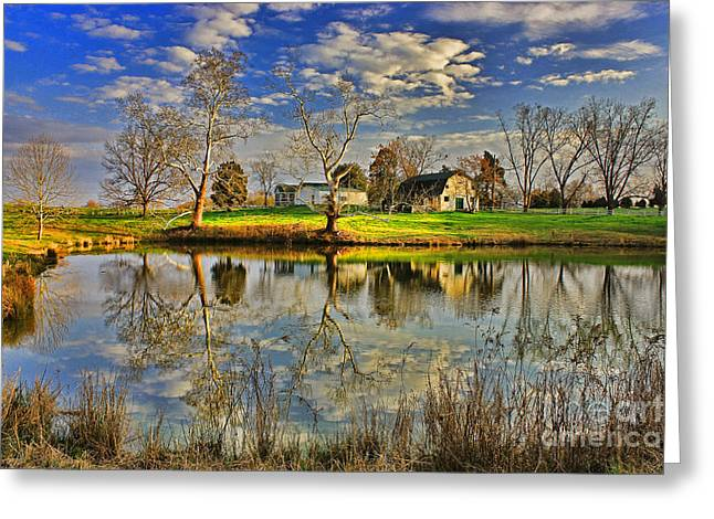 Uncle Remus's House Reflection Near Lake Oconee And Eatonton Ga Greeting Card by Reid Callaway