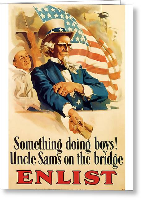 Enlistment Greeting Cards - Uncle Sam   ww1 Vintage Art Greeting Card by Presented By American Classic Art