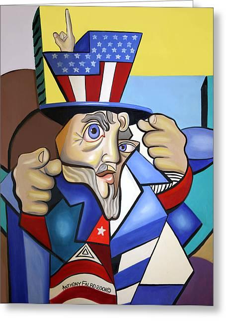 Uncle Sam Greeting Cards - Uncle Sam 2001 Greeting Card by Anthony Falbo