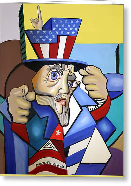 Uncle Sam 2001 Greeting Card by Anthony Falbo