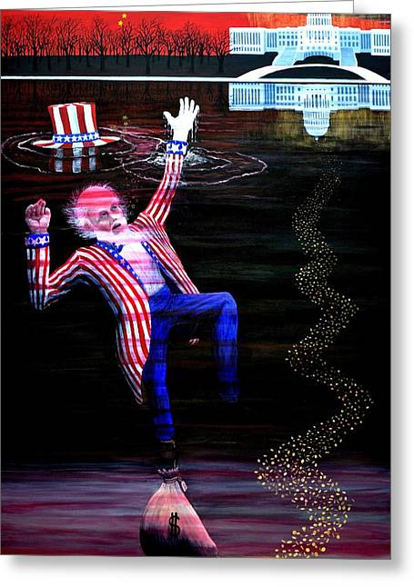 Debt Paintings Greeting Cards - Uncle Sam 2012 - ? Greeting Card by Thomas Britton