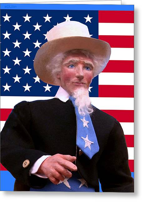 Character Portraits Sculptures Greeting Cards - Uncle Sam 4 Greeting Card by David Wiles