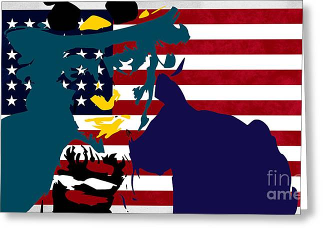 Stars And Strips Greeting Cards - Uncle Sam and The Stars and Stripes Greeting Card by T Lang
