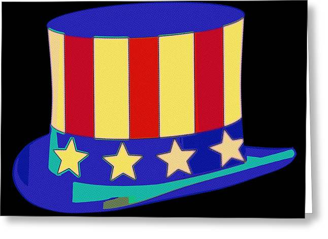 Patriots Greeting Cards - Uncle Sam Hat Pop Art Greeting Card by Florian Rodarte